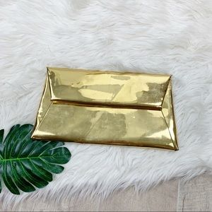 Mark Fran Gold Metallic Small Foldover Clutch